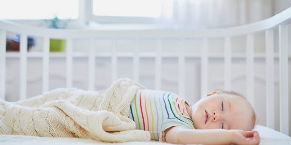 Adorable,Baby,Girl,Sleeping,In,Co-sleeper,Crib,Attached,To,Parents'